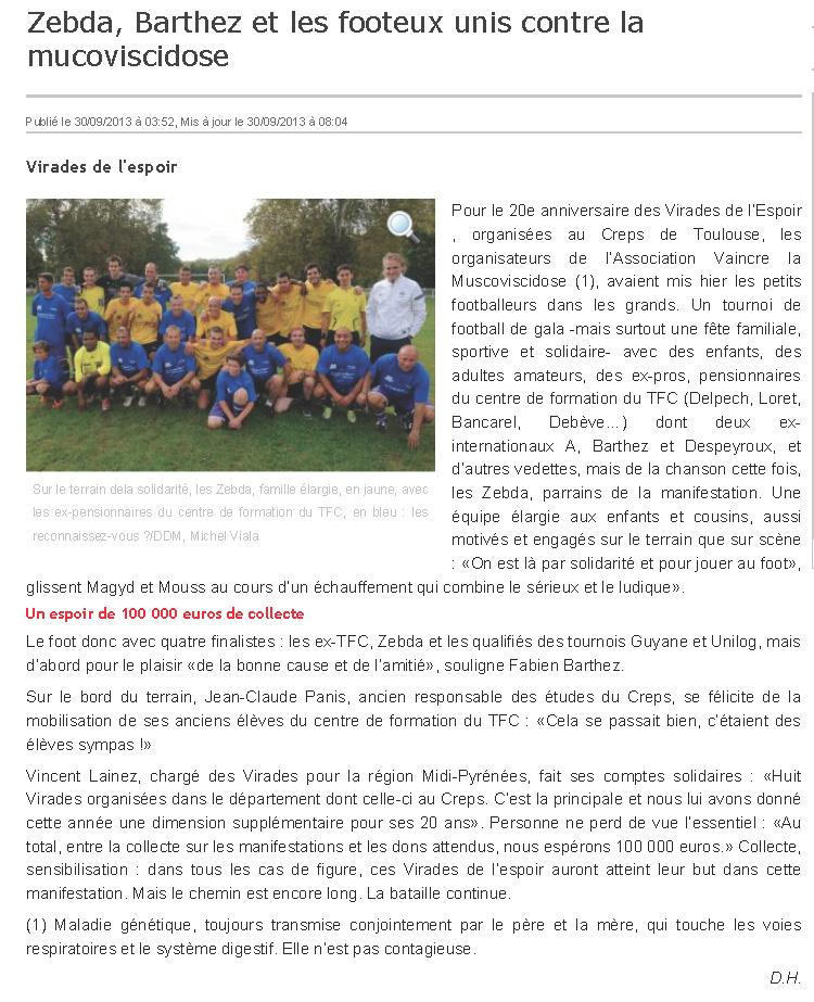 Zebda, Barthez et les footeux unis contre la mucoviscidose - 30-09-2013 - LaDépêche.fr